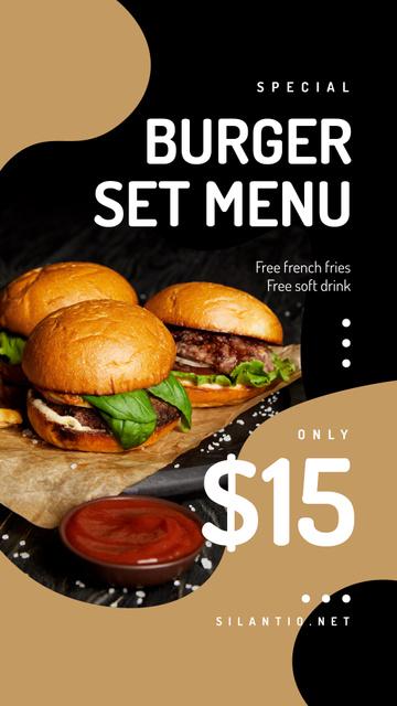 Plantilla de diseño de Fast Food Offer with Burger set Instagram Story