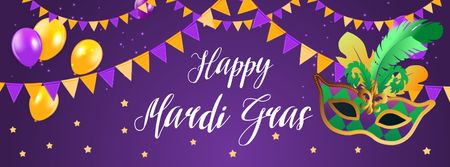 Mardi Gras carnival Greeting Facebook coverデザインテンプレート