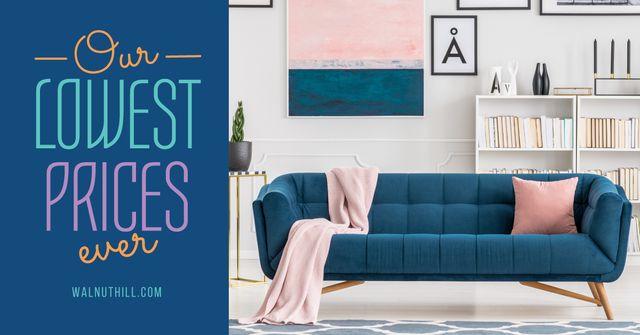 Plantilla de diseño de Modern Room Design with Sofa in Blue Facebook AD