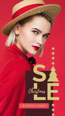 Christmas Sale Woman in red clothes Instagram Story Modelo de Design
