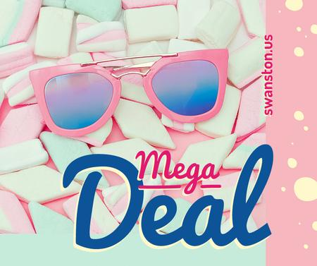 Template di design Stylish pink Sunglasses on marshmallows Facebook