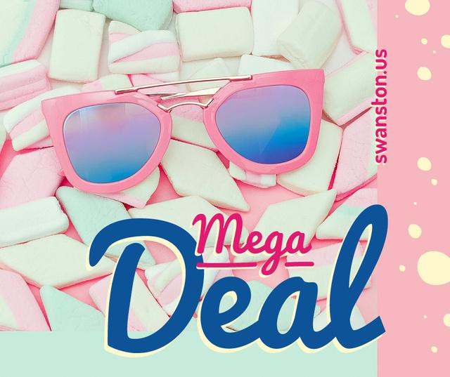 Stylish pink Sunglasses on marshmallows Facebook Modelo de Design