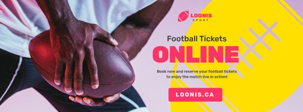 Match Tickets Ad with Rugby Player with Ball — ein Design erstellen