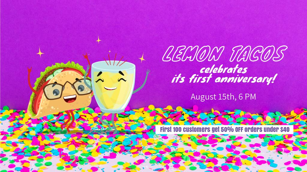 Celebration Invitation Dancing Taco and Lemonade — Создать дизайн