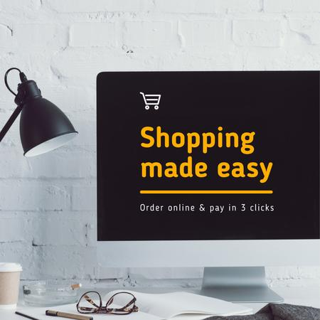 Designvorlage Online Shopping Ad on Monitor screen für Instagram AD
