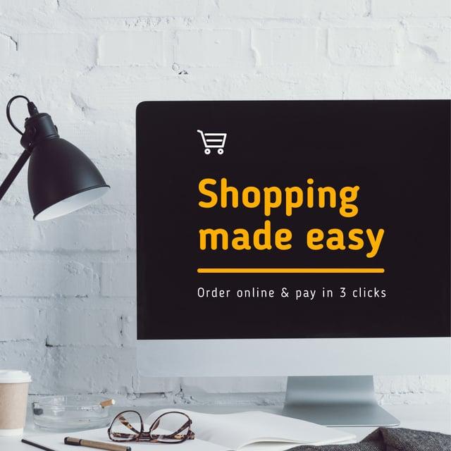 Modèle de visuel Online Shopping Ad on Monitor screen - Instagram AD