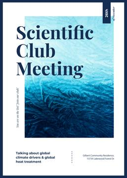 Scientific Club meeting ad on Frozen pattern