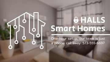 Smart Home Digital Icon on House Network | Full Hd Video Template
