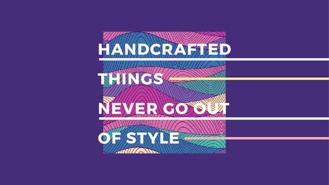 Handcrafted things Quote on Waves in purple Title – шаблон для дизайна