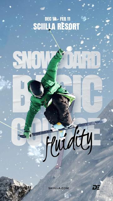 Designvorlage Skier on a Snowy Slope für Instagram Video Story