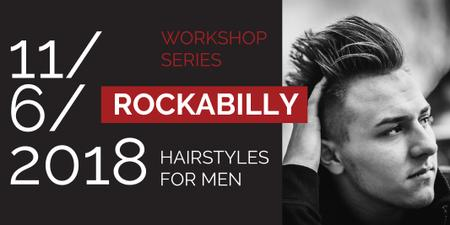 Workshop series Ad with Stylish Man Twitter Design Template