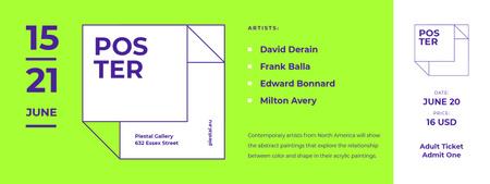 Ontwerpsjabloon van Ticket van Contemporary Art Exhibition Announcement