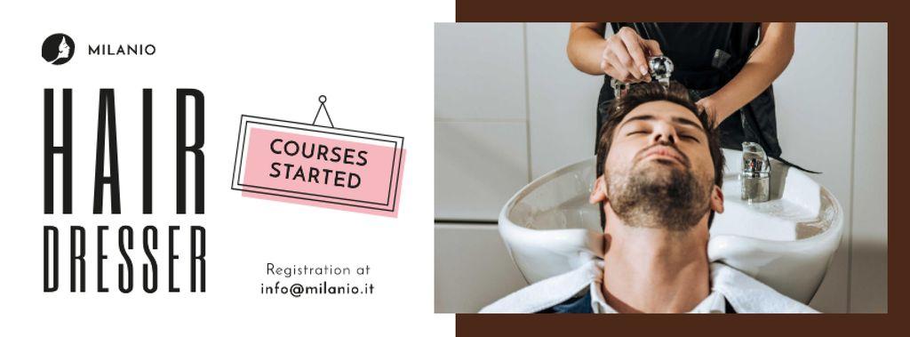 Plantilla de diseño de Hairdressing Courses stylist with client in Salon Facebook cover