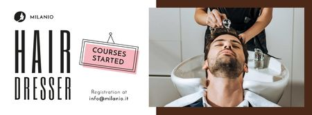Plantilla de diseño de Hairdressing Courses stylist with client in Salon Facebook cover