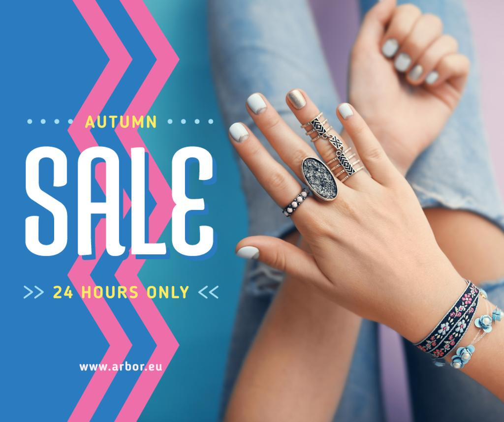 Jewelry Sale Woman in Precious Rings | Facebook Post Template — Створити дизайн