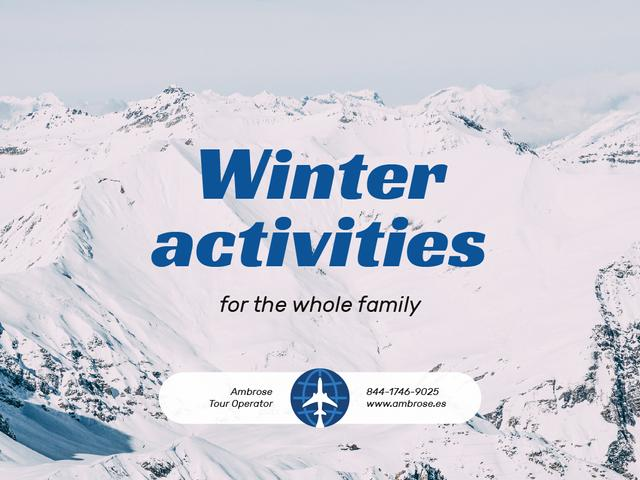 Winter Activities Tour with Snowy Mountains Presentation Design Template