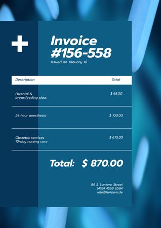 Plantilla de diseño de Clinical Services cost bill Invoice