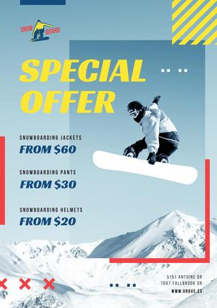 Man Riding Snowboard in Snowy Mountains Poster Modelo de Design