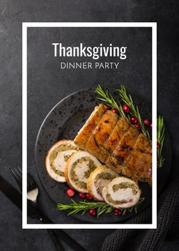 Thanksgiving Dinner Party Invitation Roasted Turkey | Flyer Template