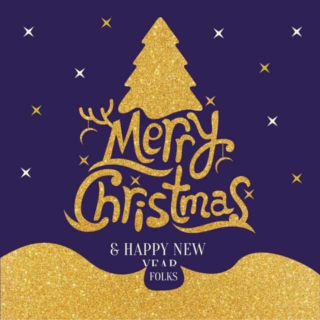 Ontwerpsjabloon van Instagram van Merry Christmas Greeting with Golden Christmas Tree