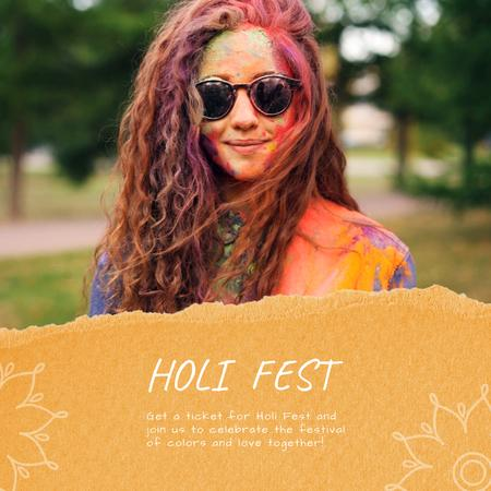 Indian Holi Festival Celebration with Girl in Paint Animated Post Design Template
