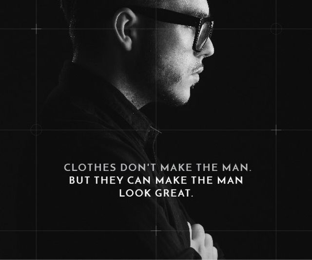 Plantilla de diseño de Citation about a man clothes Large Rectangle