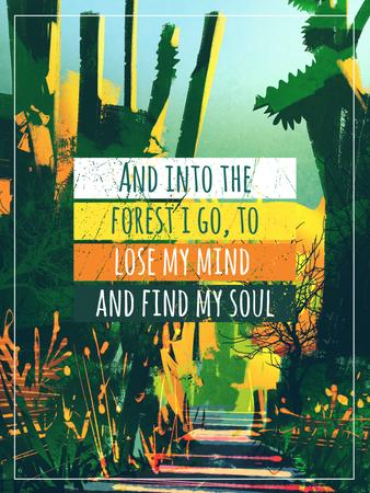 Ontwerpsjabloon van Poster US van Motivational quote with green Forest