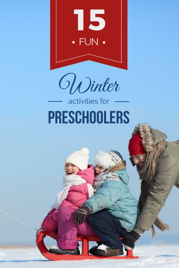 Father with Kids Having Fun in Winter — Modelo de projeto