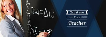 Female Teacher Writing on Chalkboard  | Tumblr Banner Template