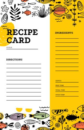 Plantilla de diseño de Cute Fish illustrations Recipe Card