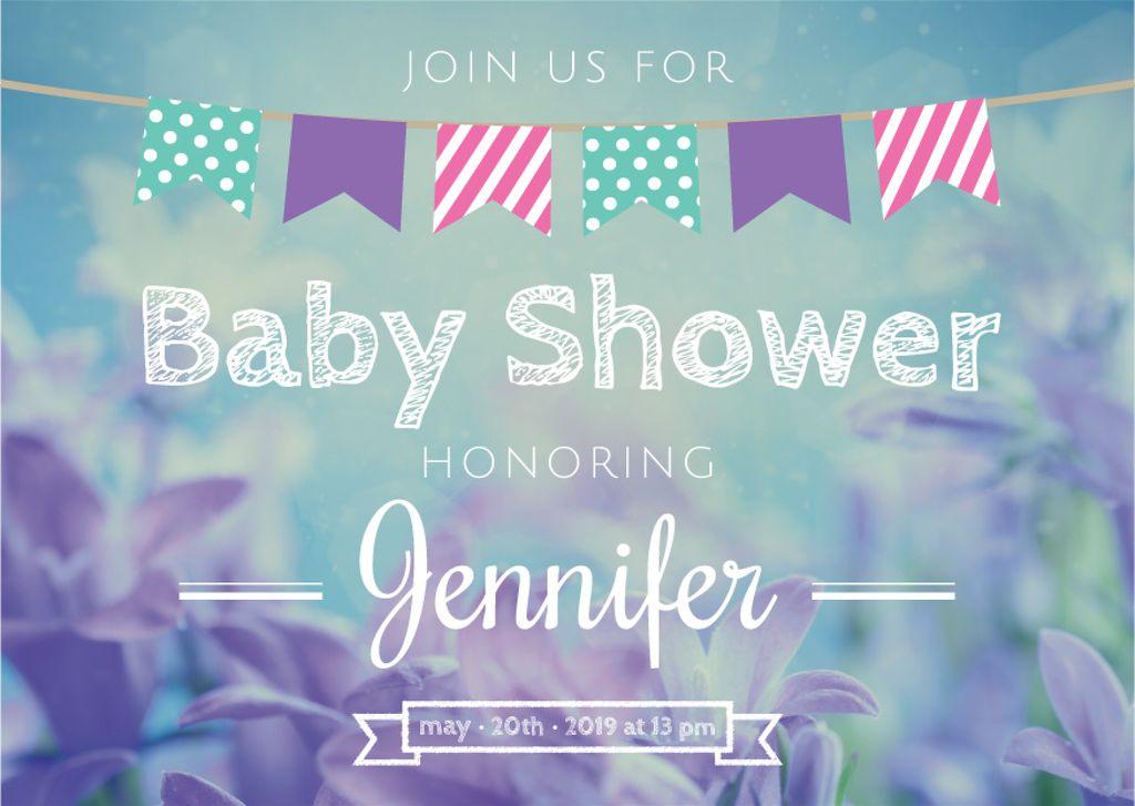 Baby Shower Invitation Card Postcard Template Design Online Crello