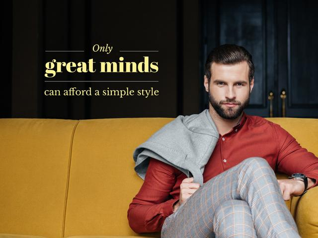 Stylish Man sitting on Yellow Sofa Presentation – шаблон для дизайна