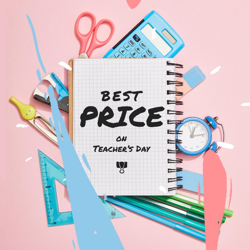 Teacher's Day Sale Offer with Stationery Frame — Crear un diseño
