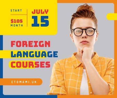 Language Courses ad confident young girl Facebook Tasarım Şablonu