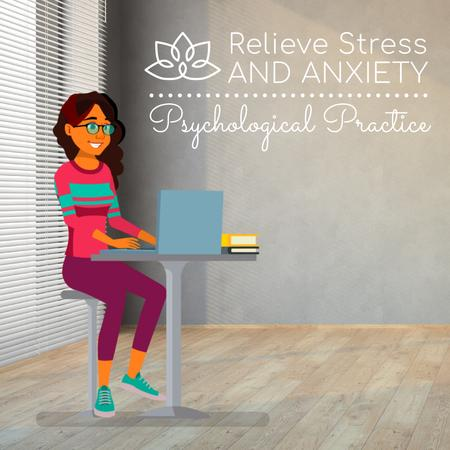 Psychological Practice Guide with Stressed Woman with Laptop Animated Post Design Template