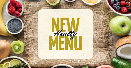 Szablon projektu Healthy menu offer with fresh Fruits and Vegetables Facebook AD