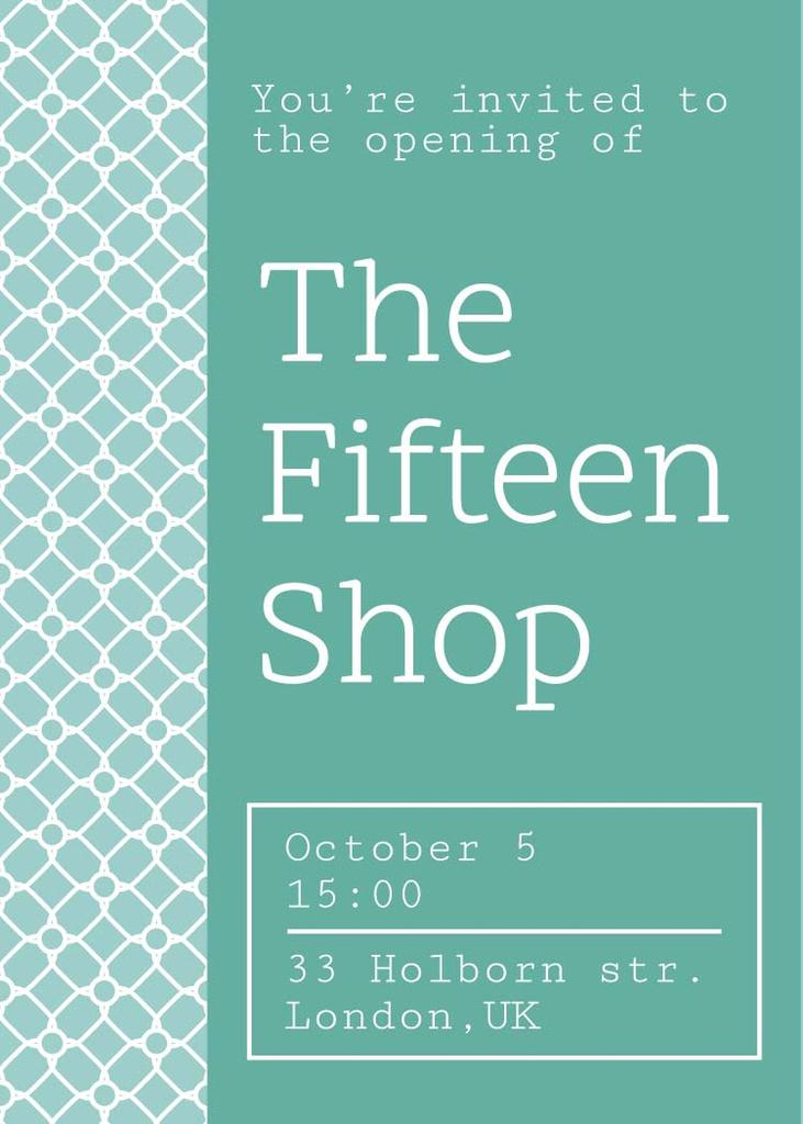 Shop opening announcement in blue Flayer Modelo de Design