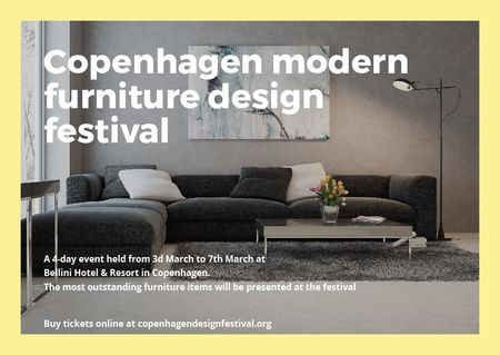 Ontwerpsjabloon van Postcard van Interior Decoration Event Announcement with Sofa in Grey