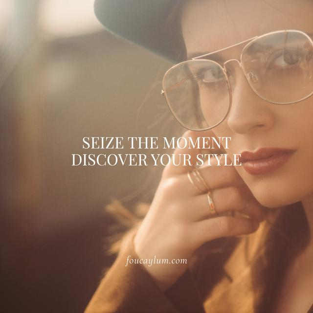 Plantilla de diseño de Fashion Quote with Stylish Woman in Vintage Outfit Instagram