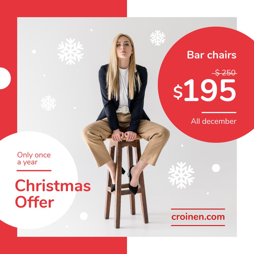 Christmas Offer Fashionable Woman Sitting on Stool —デザインを作成する