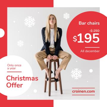 Christmas Offer Fashionable Woman Sitting on Stool | Instagram Post Template