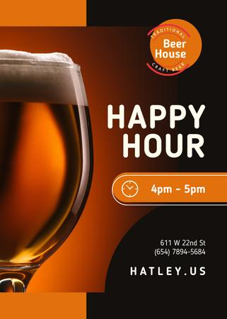Ontwerpsjabloon van Flayer van Happy Hour Offer Beer in Glass