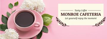 Cafeteria Advertisement with Coffee Cup in Pink | Facebook Cover Template