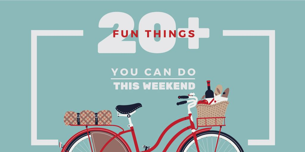 Weekend Ideas with Red Bicycle with Food Image Design Template