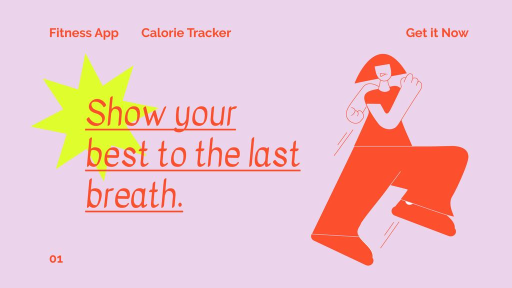 Fitness App promotion with Woman running — Crear un diseño