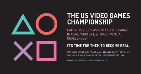 Plantilla de diseño de Video games Championship with geometric figures Facebook AD