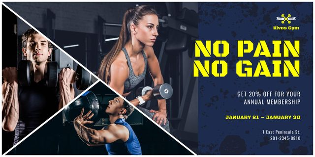 Gym Membership Offer People Exercising Image Modelo de Design
