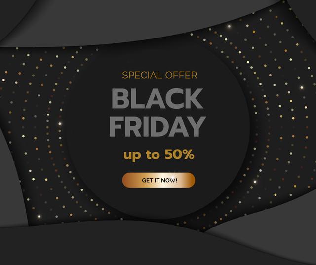 Black Friday sale on glitter Facebook Tasarım Şablonu
