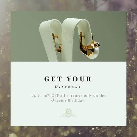 Queen's Birthday Sale Jewelry with Diamonds and Pearls Animated Post Modelo de Design