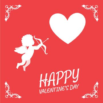 Cupid shooting in Valentine's Day Heart